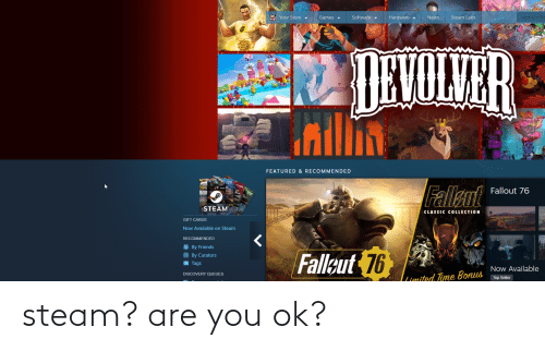 are you ok: steam? are you ok?