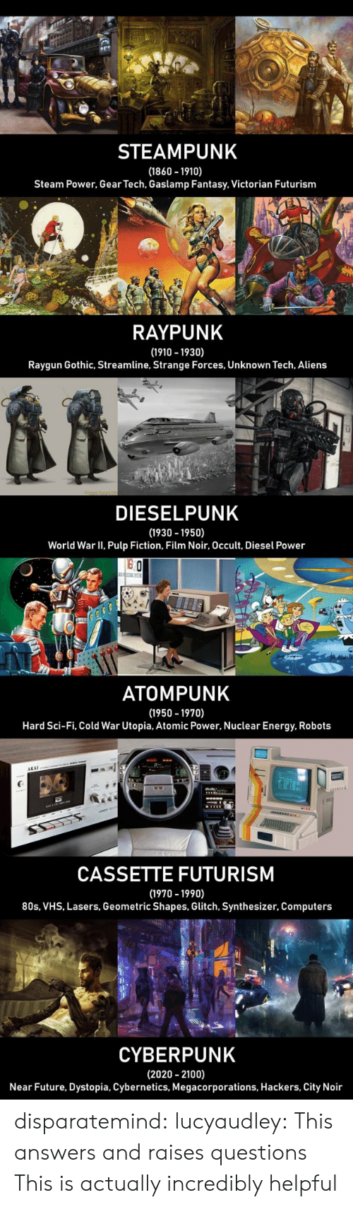 80s, Computers, and Energy: STEAMPUNK  (1860 1910)  Steam Power, Gear Tech, Gaslamp Fantasy, Victorian Futurism  RAYPUNK  (1910 -1930)  Raygun Gothic, Streamline, Strange Forces, Unknown Tech, Aliens  LI  DIESELPUNK  (1930 -1950)  World War II, Pulp Fiction, Film Noir, Occult, Diesel Power  o Ch  ATOMPUNK  (1950 -1970)  Hard Sci-Fi, Cold War Utopia, Atomic Power, Nuclear Energy, Robots  AKAI  CASSETTE FUTURISM  (1970 -1990)  80s, VHS, Lasers, Geometric Shapes, Glitch, Synthesizer, Computers  CYBERPUNK  (2020 2100)  Near Future, Dystopia, Cybernetics, Megacorporations, Hackers, City Noir disparatemind: lucyaudley: This answers and raises questions   This is actually incredibly helpful