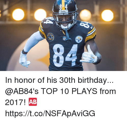 Birthday, Memes, and Steelers: Steelers-  84 In honor of his 30th birthday...   @AB84's TOP 10 PLAYS from 2017! 🆎 https://t.co/NSFApAviGG