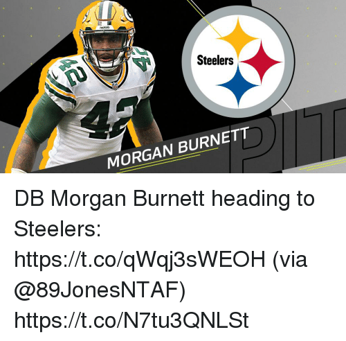Memes, Steelers, and 🤖: Steelers  MORGAN BURNETT DB Morgan Burnett heading to Steelers: https://t.co/qWqj3sWEOH (via @89JonesNTAF) https://t.co/N7tu3QNLSt