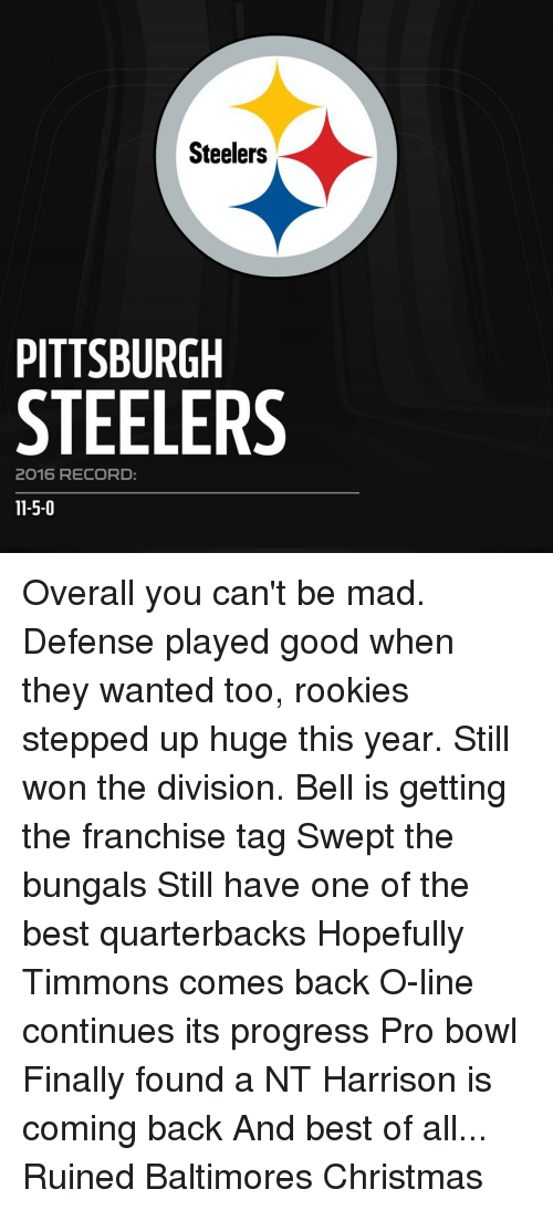 Pittsburgh Steeler: Steelers  PITTSBURGH  STEELERS  2O16 RECORD  11-5-0 Overall you can't be mad. Defense played good when they wanted too, rookies stepped up huge this year. Still won the division. Bell is getting the franchise tag Swept the bungals Still have one of the best quarterbacks Hopefully Timmons comes back O-line continues its progress Pro bowl Finally found a NT Harrison is coming back And best of all... Ruined Baltimores Christmas