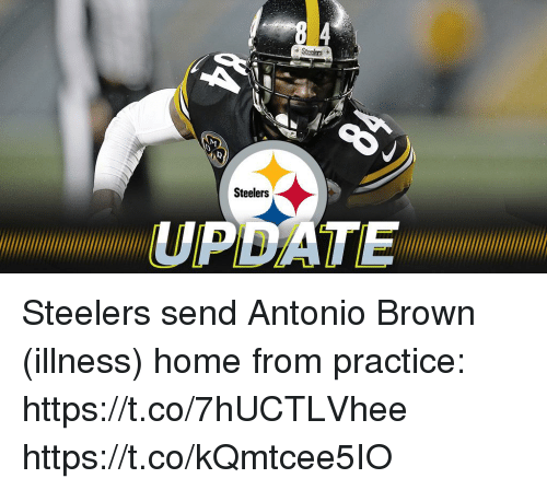 Memes, Home, and Steelers: Steelers  Steelers  UPDATE Steelers send Antonio Brown (illness) home from practice: https://t.co/7hUCTLVhee https://t.co/kQmtcee5IO
