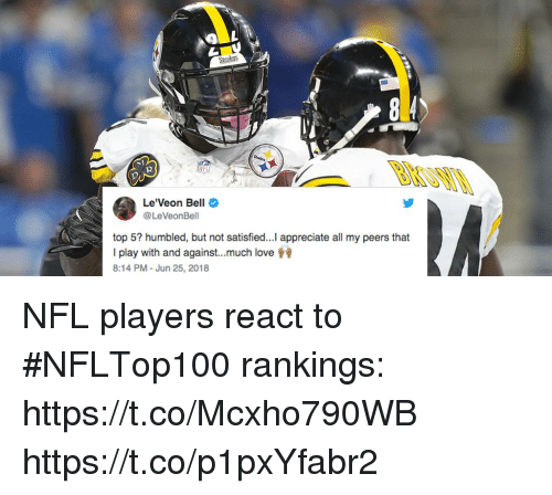 Love, Memes, and Nfl: Steelets  2  Le'Veon Bell  @LeVeonBell  top 5? humbled, but not satisfied...Il appreciate all my peers that  I play with and against much love  8:14 PM - Jun 25, 2018 NFL players react to #NFLTop100 rankings: https://t.co/Mcxho790WB https://t.co/p1pxYfabr2