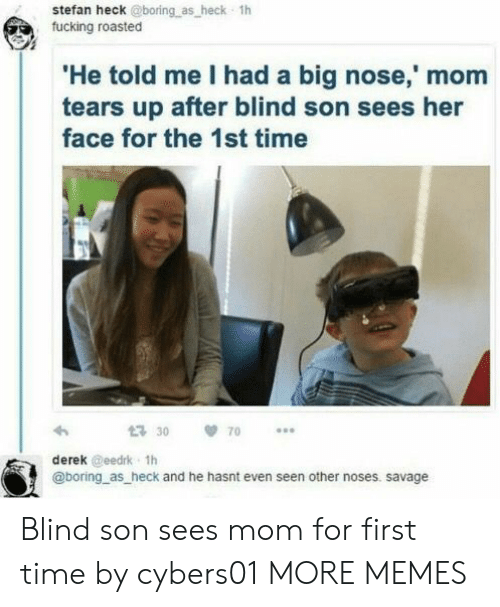 Dank, Fucking, and Memes: stefan heck @boring as heck 1h  fucking roasted  He told me I had a big nose,' mom  tears up after blind son sees her  face for the 1st time  30 70  derek @eedrk 1h  @boring as heck and he hasnt even seen other noses. savage Blind son sees mom for first time by cybers01 MORE MEMES
