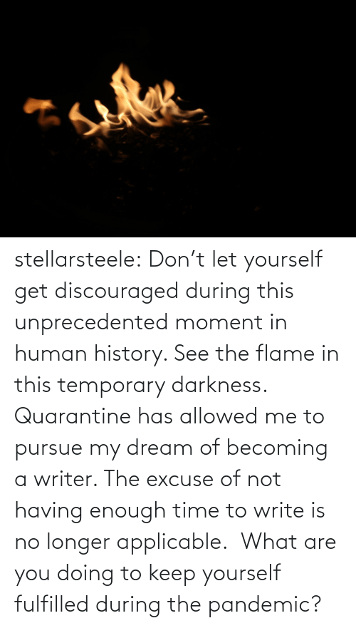 Tumblr, Blog, and History: stellarsteele: Don't let yourself get discouraged during this unprecedented moment in human history. See the flame in this temporary darkness.  Quarantine has allowed me to pursue my dream of becoming a writer. The excuse of not having enough time to write is no longer applicable.  What are you doing to keep yourself fulfilled during the pandemic?