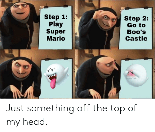Head, Super Mario, and Mario: Step 1:  Play  Super  Mario  Step 2:  Go to  Boo's  Castle Just something off the top of my head.
