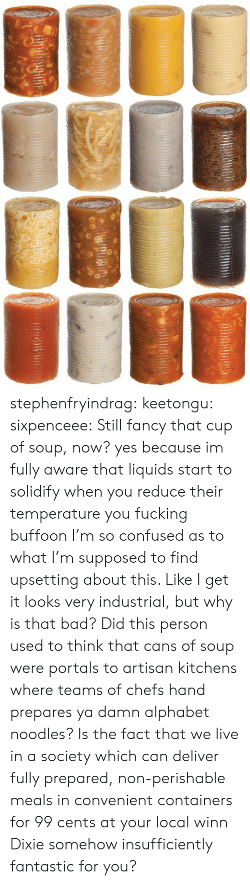 Bad, Confused, and Fucking: stephenfryindrag:  keetongu:  sixpenceee:  Still fancy that cup of soup, now?  yes because im fully aware that liquids start to solidify when you reduce their temperature you fucking buffoon  I'm so confused as to what I'm supposed to find upsetting about this. Like I get it looks very industrial, but why is that bad? Did this person used to think that cans of soup were portals to artisan kitchens where teams of chefs hand prepares ya damn alphabet noodles? Is the fact that we live in a society which can deliver fully prepared, non-perishable meals in convenient containers for 99 cents at your local winn Dixie somehow insufficiently fantastic for you?