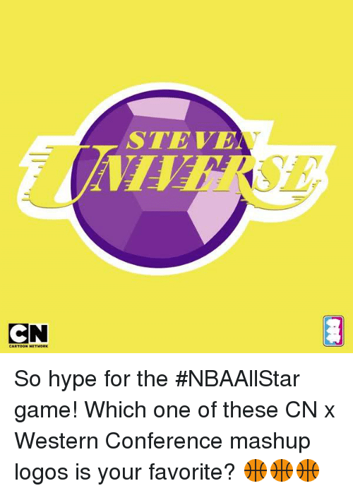 Hype, Memes, and Game: STEVE  C So hype for the #NBAAllStar game! Which one of these CN x Western Conference mashup logos is your favorite? 🏀🏀🏀
