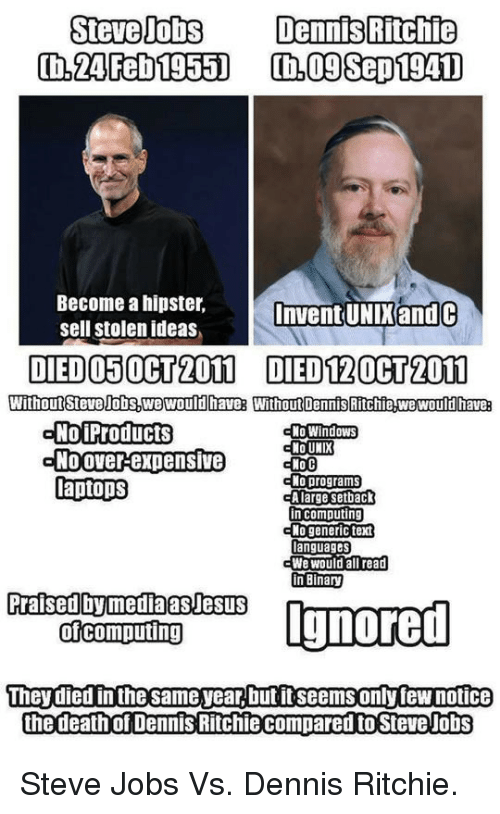 Unix: Steve Jobs  DennisRitchie  Become a hipster,  sell stolen ideas,  Invent UNIK and C  DIED O50CT2011 DIED120CT2011  No WindoWS  NO UNIX  NolProducts  Noover expensive  laptops  cNo programs  in computing  languages  We would all read  n Binary  Praised by mediaasJesUS  They died in thesame year, but it seems only few notice  the death of Dennis Ritchiecompared to Steve Jobs <p>Steve Jobs Vs. Dennis Ritchie.</p>