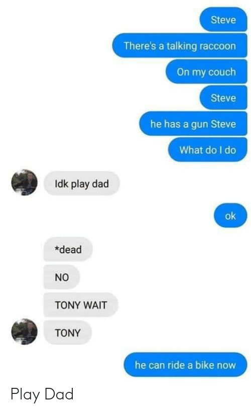 Dad, Couch, and Raccoon: Steve  There's a talking raccoon  On my couch  Steve  he has a gun Steve  What do I do  Idk play dad  ok  dead  NO  TONY WAIT  TONY  he can ride a bike now Play Dad