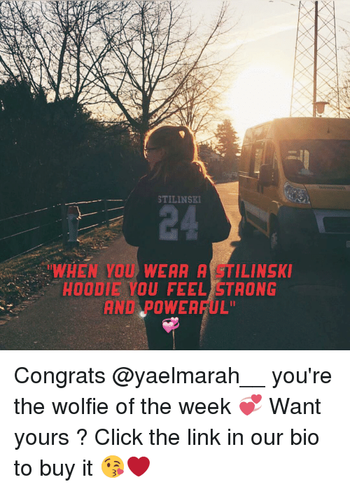 "wolfies: STILINSKI  WHEN YOU WEAA A TILINSKI  HOODIE YOU FEEL STRONG  AND POWEA  ARUL"" Congrats @yaelmarah__ you're the wolfie of the week 💞 Want yours ? Click the link in our bio to buy it 😘❤️"