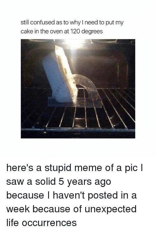 Stupid Memes: still confused as to why need to put my  cake in the oven at 120 degrees here's a stupid meme of a pic I saw a solid 5 years ago because I haven't posted in a week because of unexpected life occurrences