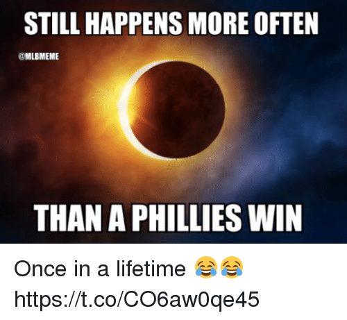 Memes, Philadelphia Phillies, and Lifetime: STILL HAPPENS MORE OFTEN  @MLBMEME  THAN A PHILLIES WIN Once in a lifetime 😂😂 https://t.co/CO6aw0qe45