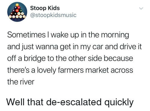 Drive, Kids, and Car: Stoop Kids  @stoopkidsmusic  Sometimes I wake up in the morning  and just wanna get in my car and drive it  off a bridge to the other side because  there's a lovely farmers market across  the river <p>Well that de-escalated quickly</p>