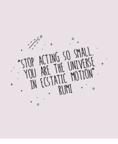 ecstatic: STOP ACTING SO SMALL  YOU ARE THE UNIVERSE  N ECSTATIC MOTION  RUM  0