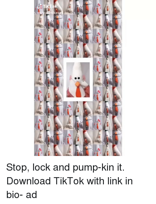 Funny, Memes, and Link: Stop, lock and pump-kin it. Download TikTok with link in bio- ad