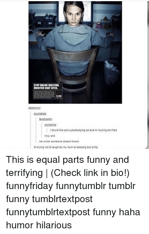 Hahae: STOP ONLINE BULITING  MONITOR CHAT SITES  SRE  teher  porisins  i found this anti cyberbulying ad and im fucking terrified  Holy sht  me when someone doesnt knock  m trying rot to lough be my mum is sieeping but omg This is equal parts funny and terrifying | (Check link in bio!) funnyfriday funnytumblr tumblr funny tumblrtextpost funnytumblrtextpost funny haha humor hilarious