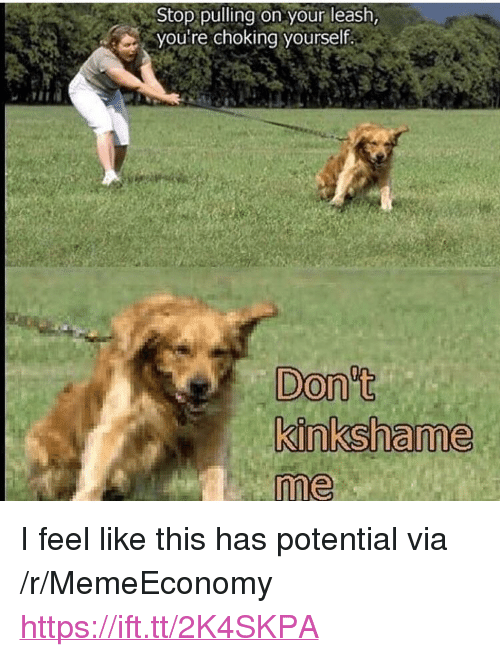 """Via, Href, and Potential: Stop pulling on your leash,  you're choking yourself.  Don't  me <p>I feel like this has potential via /r/MemeEconomy <a href=""""https://ift.tt/2K4SKPA"""">https://ift.tt/2K4SKPA</a></p>"""