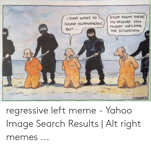 Yahoo Image: STOP RIGHT THERE  1 DONT WANT TO  MY FRIEND. You  MIGHT INFLAME  THE SITUATION  SOUND ISLAMOPHOBIC  BUT.  iu  ROONER regressive left meme - Yahoo Image Search Results | Alt right memes ...