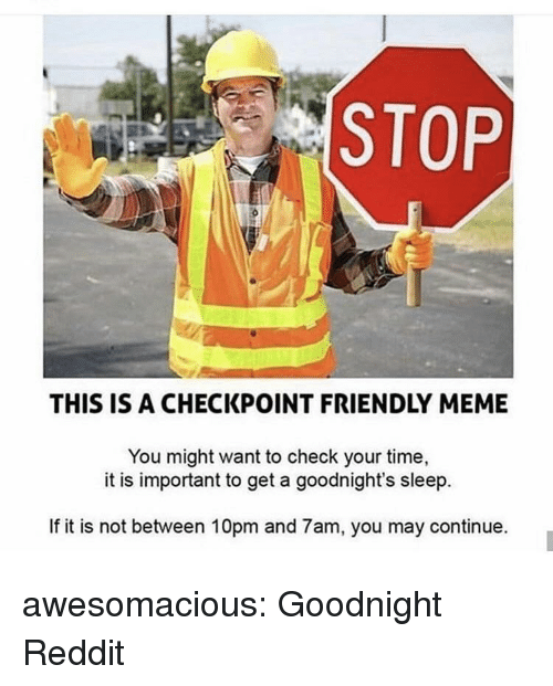 Meme, Reddit, and Tumblr: STOP  THIS IS A CHECKPOINT FRIENDLY MEME  You might want to check your time,  it is important to get a goodnight's sleep.  If it is not between 10pm and 7am, you may continue. awesomacious:  Goodnight Reddit