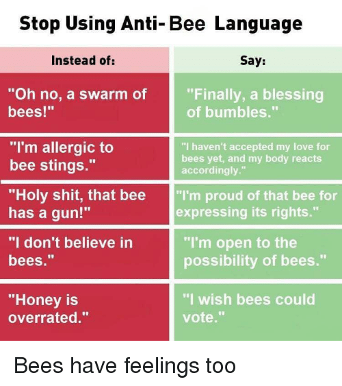 """accordingly: Stop Using Anti-Bee Language  Instead of:  Say:  """"Oh no, a swarm of  bees!""""  """"Finally, a blessing  of bumbles.""""  """"I'm allergic to  bee stings.""""  """"I haven't accepted my love for  bees yet, and my body reacts  accordingly.""""  """"Holy shit, that bee """"I'm proud of that bee for  has a gun!""""  """"I don't believe in  bees.""""  expressing its rights.""""  """"I'm open to the  possibility of bees.""""  """"Honey is  overrated.""""  """"I wish bees could  vote."""" Bees have feelings too"""