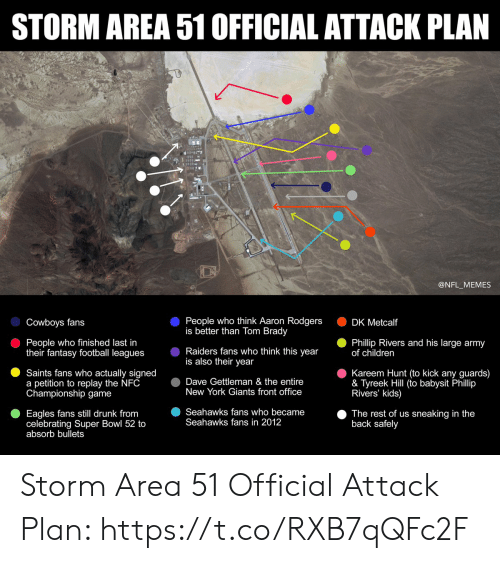 Fantasy football: STORM AREA 51 OFFICIAL ATTACK PLAN  @NFL_MEMES  People who think Aaron Rodgers  is better than Tom Brady  Cowboys fans  DK Metcalf  People who finished last in  their fantasy football leagues  Phillip Rivers and his large army  of children  Raiders fans who think this year  is also their year  Kareem Hunt (to kick any guards)  & Tyreek Hill (to babysit Phillip  Rivers' kids)  Saints fans who actually signed  a petition to replay the NFC  Championship game  Dave Gettleman & the entire  New York Giants front office  Seahawks fans who became  Seahawks fans in 2012  Eagles fans still drunk from  celebrating Super Bowl 52 to  absorb bullets  The rest of us sneaking in the  back safely Storm Area 51 Official Attack Plan: https://t.co/RXB7qQFc2F