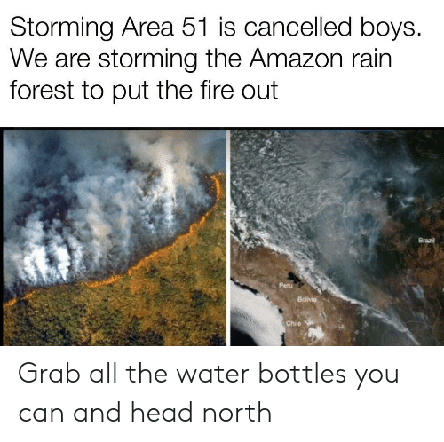 Peru: Storming Area 51 is cancelled boys.  We are storming the Amazon rain  forest to put the fire out  Brazil  Peru  Bolivia  Chile Grab all the water bottles you can and head north