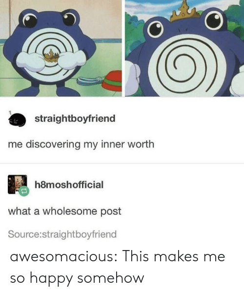 Tumblr, Blog, and Happy: straightboyfriend  me discovering my inner worth  h8moshofficial  what a wholesome post  Source:straightboyfriend awesomacious:  This makes me so happy somehow