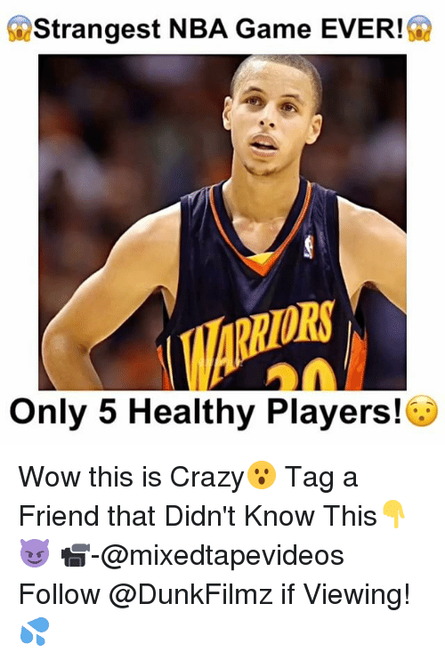 Nba Games: Strangest NBA Game EVER!  Only 5 Healthy Players! Wow this is Crazy😮 Tag a Friend that Didn't Know This👇😈 📹-@mixedtapevideos Follow @DunkFilmz if Viewing!💦