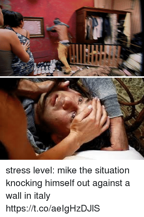 Stress Level: stress level: mike the situation knocking himself out against a wall in italy https://t.co/aeIgHzDJlS