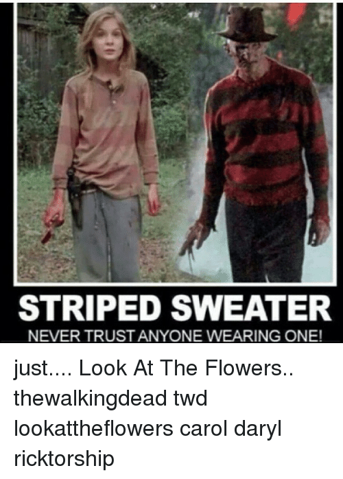 Memes, Flowers, and Never: STRIPED SWEATER  NEVER TRUSTANYONE WEARING ONE! just.... Look At The Flowers.. thewalkingdead twd lookattheflowers carol daryl ricktorship