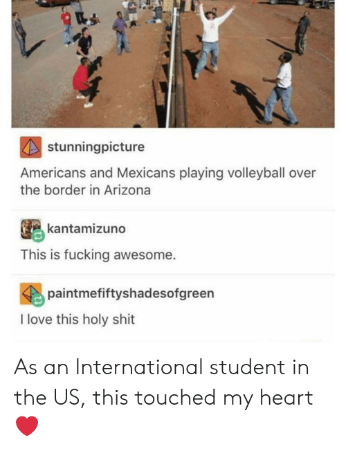 fucking awesome: stunningpicture  Americans and Mexicans playing volleyball over  the border in Arizona  kantamizuno  This is fucking awesome.  paintmefiftyshadesofgreen  I love this holy shit As an International student in the US, this touched my heart ❤️