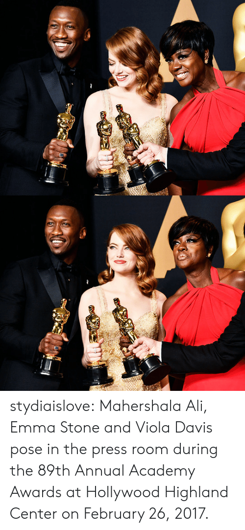 Academy Awards: stydiaislove:  Mahershala Ali, Emma Stone and Viola Davis pose in the press room during the 89th Annual Academy Awards at Hollywood  Highland Center on February 26, 2017.