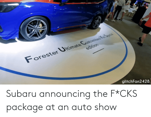 show: Subaru announcing the F*CKS package at an auto show