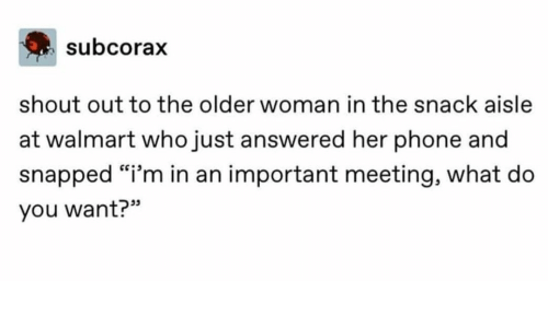 "shout out: subcorax  shout out to the older woman in the snack aisle  at walmart who just answered her phone and  snapped ""i'm in an important meeting, what do  you want?"""