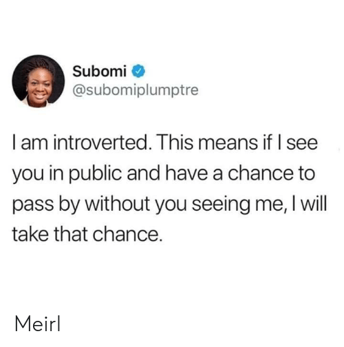 i see you: Subomi  @subomiplumptre  I am introverted. This means if I see  you in public and have a chance to  pass by without you seeing me, I will  take that chance. Meirl