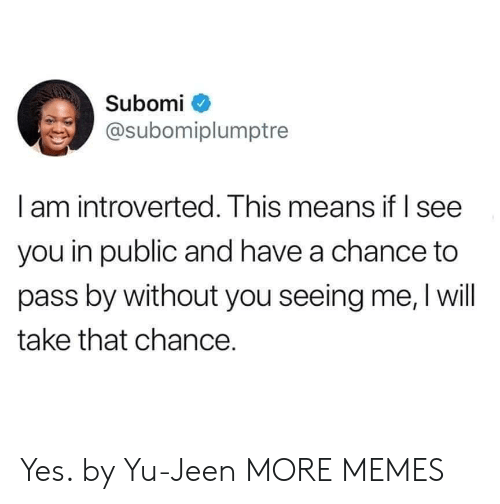 Dank, Memes, and Target: Subomi  @subomiplumptre  l am introverted. Ihis means it I see  you in public and have a chance to  pass by without you seeing me, I will  take that chance. Yes. by Yu-Jeen MORE MEMES