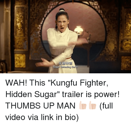 "thumb ups: Sugar Defeating Darts WAH! This ""Kungfu Fighter, Hidden Sugar"" trailer is power! THUMBS UP MAN 👍🏻👍🏻 (full video via link in bio)"