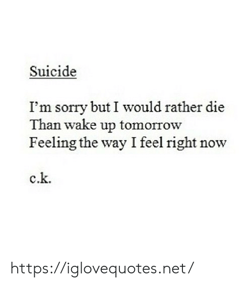 Sorry, Suicide, and Tomorrow: Suicide  I'm sorry but I would rather die  Than wake up tomorrow  Feeling the way I feel right now  c.k. https://iglovequotes.net/