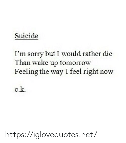 the way: Suicide  I'm sorry but I would rather die  Than wake up tomorrow  Feeling the way I feel right now  c.k. https://iglovequotes.net/