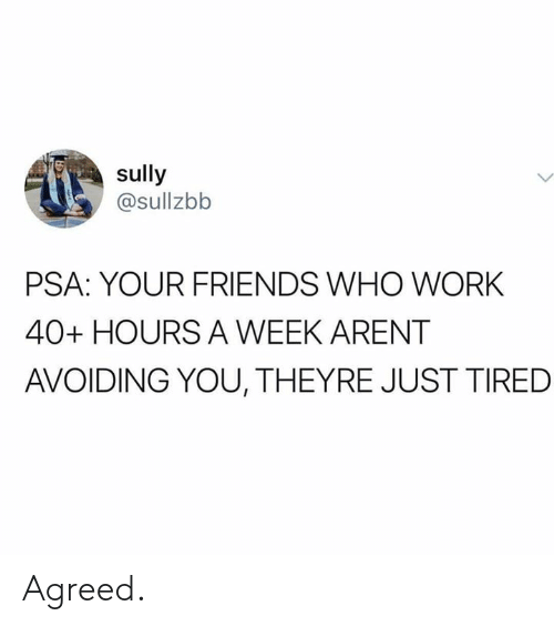 Dank, Friends, and Work: sully  @sullzbb  PSA: YOUR FRIENDS WHO WORK  40+ HOURS A WEEK ARENT  AVOIDING YOU, THEYRE JUST TIRED Agreed.