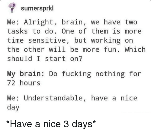 Fucking, Tumblr, and Brain: sumersprkl  Me: Alright, brain, we have two  tasks to do. One of them is more  time sensitive, but working on  the other will be more fun. Which  should I start on?  My brain: Do fucking nothing for  72 hours  Me: Understandable, have a nice  day