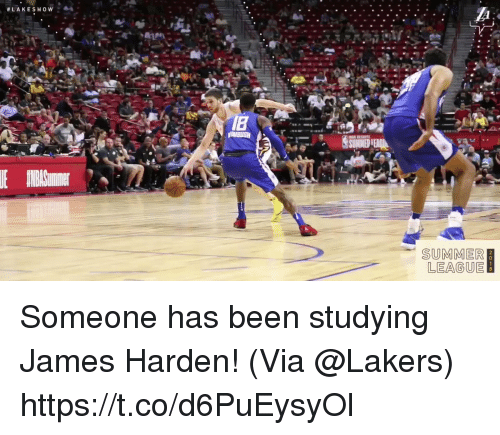 James Harden, Los Angeles Lakers, and Memes: SUMMER  LEAGUE Someone has been studying James Harden!   (Via @Lakers)  https://t.co/d6PuEysyOl