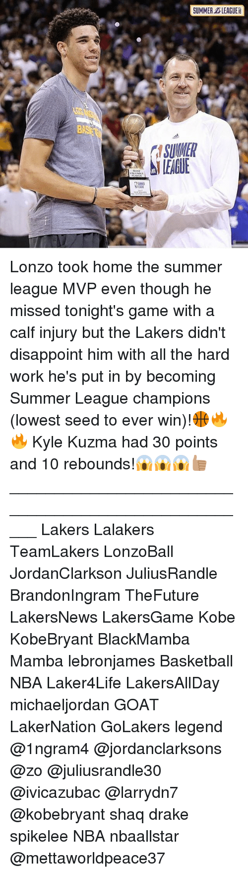 Kylee: SUMMER LEAGUE  SUMNER  LEAGUE Lonzo took home the summer league MVP even though he missed tonight's game with a calf injury but the Lakers didn't disappoint him with all the hard work he's put in by becoming Summer League champions (lowest seed to ever win)!🏀🔥🔥 Kyle Kuzma had 30 points and 10 rebounds!😱😱😱👍🏽 _____________________________________________________ Lakers Lalakers TeamLakers LonzoBall JordanClarkson JuliusRandle BrandonIngram TheFuture LakersNews LakersGame Kobe KobeBryant BlackMamba Mamba lebronjames Basketball NBA Laker4Life LakersAllDay michaeljordan GOAT LakerNation GoLakers legend @1ngram4 @jordanclarksons @zo @juliusrandle30 @ivicazubac @larrydn7 @kobebryant shaq drake spikelee NBA nbaallstar @mettaworldpeace37