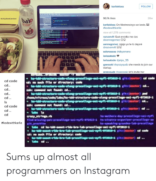 almost: Sums up almost all programmers on Instagram