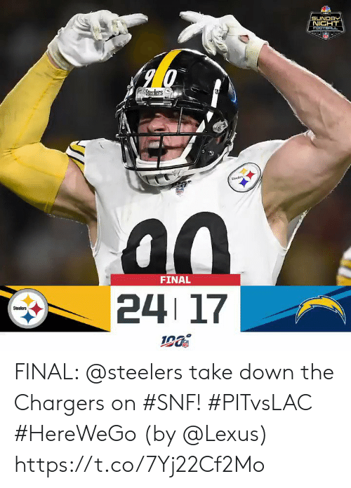 lexus: SUNDAY  NIGHT  FOOTBAL  Steelers  Sees  FINAL  24 17  Steelers FINAL: @steelers take down the Chargers on #SNF! #PITvsLAC #HereWeGo  (by @Lexus) https://t.co/7Yj22Cf2Mo
