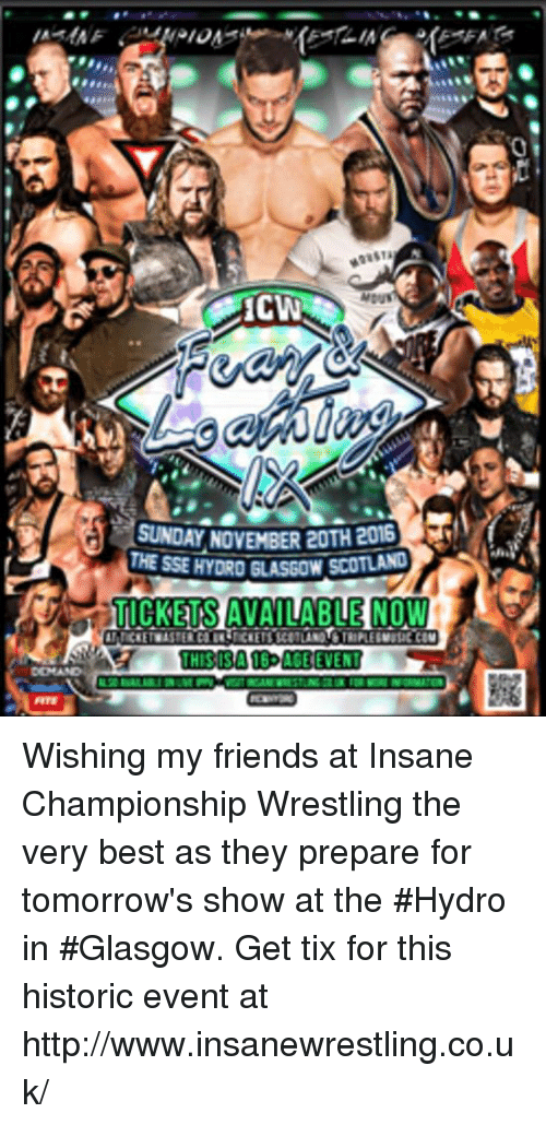 Memes, Sunday, and Historical: SUNDAY NOVEMBER eOTH 201G  THESSEHYDROGLASGOWUSCOUAC  UICKELSAVAILABLEHNOW  THIS IS A 16 ACE EVENT Wishing my friends at Insane Championship Wrestling the very best as they prepare for tomorrow's show at the #Hydro in #Glasgow. Get tix for this historic event at http://www.insanewrestling.co.uk/