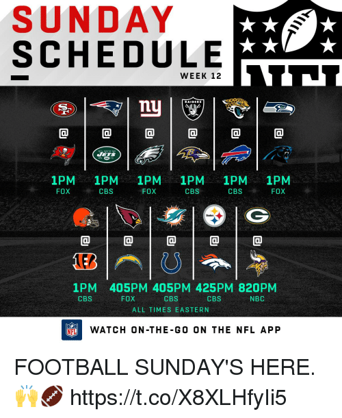 Football, Memes, and Nfl: SUNDAY  SCHEDULE  WEEK 12  RAIDERS  0  ETS  1PM 1PM 1PM 1PM 1PM 1PM  FOXCBS  FOX  CBS  CBSFOX  @1@1@1@1@  1PM 405PM 405PM 425PM 820PM  CBS  ALL TIMES EASTERN  CBS  FOX  CBS  NBC  FLWATCH ON-THE-G0 ON THE NFL APP FOOTBALL SUNDAY'S HERE. 🙌🏈 https://t.co/X8XLHfyIi5