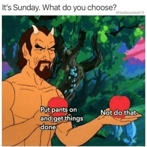 Sunday, You, and What: Sunday. What do you choose?  @bottlerocket13  Put pants on  and get things  done  Not do that