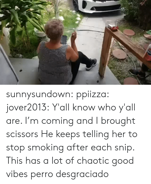 Im Coming: sunnysundown:  ppiizza:  jover2013:  Y'all know who y'all are. I'm coming and I brought scissors  He keeps telling her to stop smoking after each snip. This has a lot of chaotic good vibes   perro desgraciado